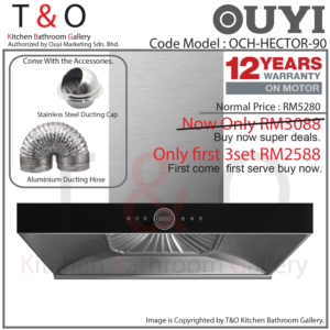 Ouyi Cooker Hood OCH-HECTOR-90 T-Shape Chimney Hood with Suction Power 1850m3/hr.