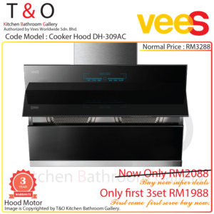 Vees Cooker Hood DH-309AC Twin Turbo Fans Chimney Hood with High Suction Power 1600m3/h