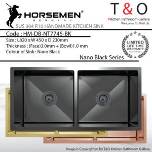 Horsemen Nano Black SUS304 R10 Double Bowl Handmade Kitchen Sink. Code : HM-DB-NT7745-BK