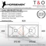 Horsemen Nano Gold SUS304 R10 Double Bowl Handmade Kitchen Sink. Code : HM-DB-NT7745-GD