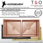 Horsemen Nano Rose Gold SUS304 R10 Double Bowl Handmade Kitchen Sink. Code : HM-DB-NT7745-RG