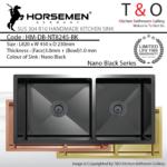 Horsemen Nano Black SUS304 R10 Double Bowl Handmade Kitchen Sink. Code : HM-DB-NT8245-BK