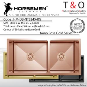 Horsemen Nano Rose Gold SUS304 R10 Double Bowl Handmade Kitchen Sink. Code : HM-DB-NT8245-RG