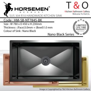Horsemen Nano Black SUS304 R10 Single Bowl Handmade Kitchen Sink. Code : HM-SB-NT7845-BK