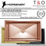 Horsemen Nano Rose Gold SUS304 R10 Single Bowl Handmade Kitchen Sink. Code : HM-SB-NT7845-RG