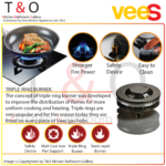 Vees Delicooker DGH-T322 4.6kW Firepower Triple Burner Gas Hob – Brand of Malaysia.