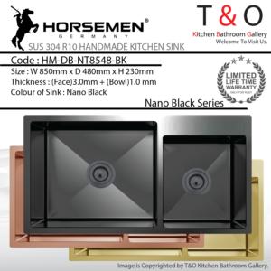 Horsemen Nano Black SUS304 R10 Double Bowl Handmade Kitchen Sink. Code : HM-DB-NT8548-BK