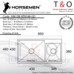 Horsemen Nano Gold SUS304 R10 Double Bowl Handmade Kitchen Sink. Code : HM-DB-NT8548-GD