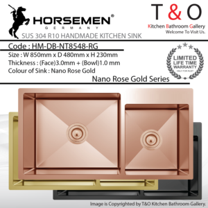 Horsemen Nano Rose Gold SUS304 R10 Double Bowl Handmade Kitchen Sink. Code : HM-DB-NT8548-RG