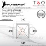 Horsemen Nano Black SUS304 R10 Single Bowl Handmade Kitchen Sink. Code : HM-SB-NT3945-BK