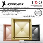 Horsemen Nano Gold SUS304 R10 Single Bowl Handmade Kitchen Sink. Code : HM-SB-NT3945-GD