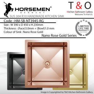 Horsemen Nano Rose Gold SUS304 R10 Single Bowl Handmade Kitchen Sink. Code : HM-SB-NT3945-RG