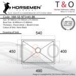 Horsemen Nano Black SUS304 R10 Single Bowl Handmade Kitchen Sink. Code : HM-SB-NT5445-BK
