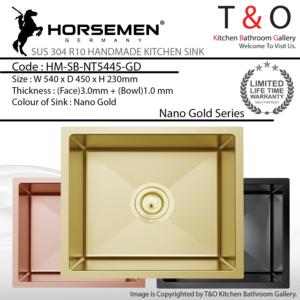 Horsemen Nano Gold SUS304 R10 Single Bowl Handmade Kitchen Sink. Code : HM-SB-NT5445-GD