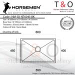 Horsemen Nano Black SUS304 R10 Single Bowl Handmade Kitchen Sink. Code : HM-SB-NT6045-BK