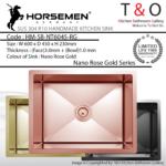 Horsemen Nano Rose Gold SUS304 R10 Single Bowl Handmade Kitchen Sink. Code : HM-SB-NT6045-RG