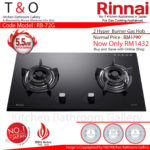 Rinnai Double 5.5kW Hyper Burner Gas Hob. Code : RB-72G