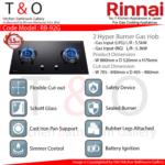 Rinnai Double 5.5kW Hyper Burner Gas Hob. Code : RB-92G