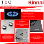 Rinnai Triple Burner Gas Hob Come With Two 3.7kW Burner and One 1.6kW Burner. Code : RB-713N-G