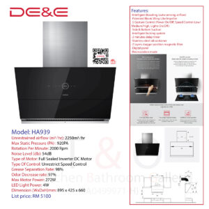 DE&E Cooker Hood: HA939 (Suction:2250m3/hr & 920PA)