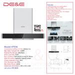 DE&E Cooker Chimney Hood: HT936 (Suction:2050m3/hr & 850PA)