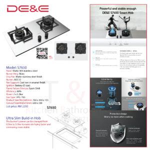 DE&E Matte 304 Stainless steel 5.2kw Build-in Hob: S7650
