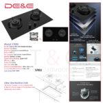 DE&E Ultra Slim 5.2kw Build-in Hob: S7852