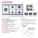 DE&E 304 Stainless steel 5 Burner Build-in Hob: S8669B